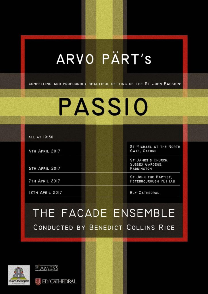 Arvo Pärt's PASSIO on 4th April 2017 at 19:30